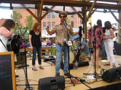 Seamus on the mic at Larkin Square