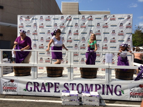 Grape stomping for fun at the Lucille Ball Comedy Fest in Jamestown, NY