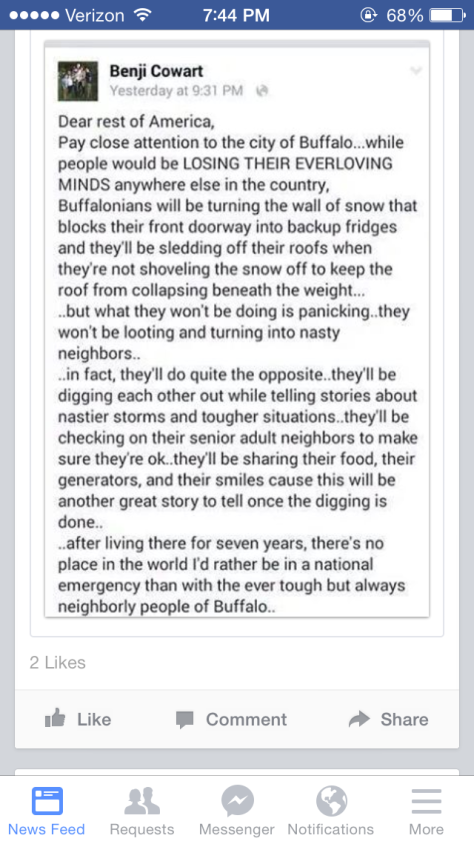 Benji Cowart's take on Buffalo dealing with the snow storm