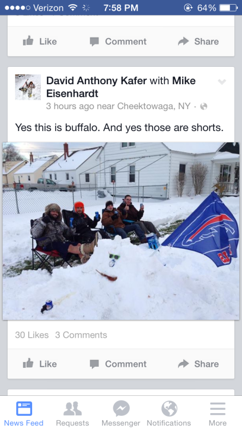 Buffalo boys enjoy the snow in shorts